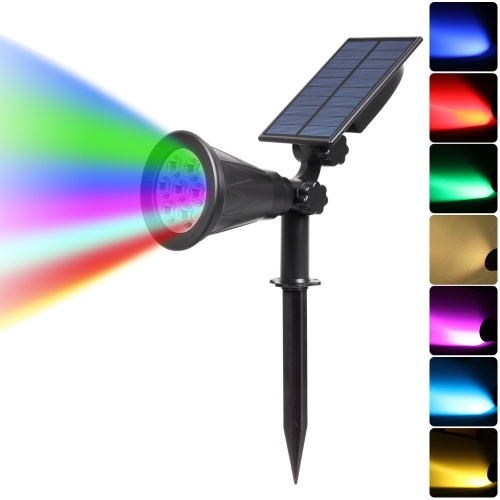 YWXLight Solar Lights 2-in-1 Waterproof 4 LED Solar Spotlight Adjustable Wall Light Landscape Light Security Lighting