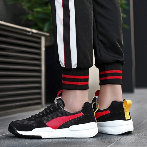 Lightweight and Comfortable Mesh Outdoor Sport Casual Shoes for Men (Color:Black Red Size:44)