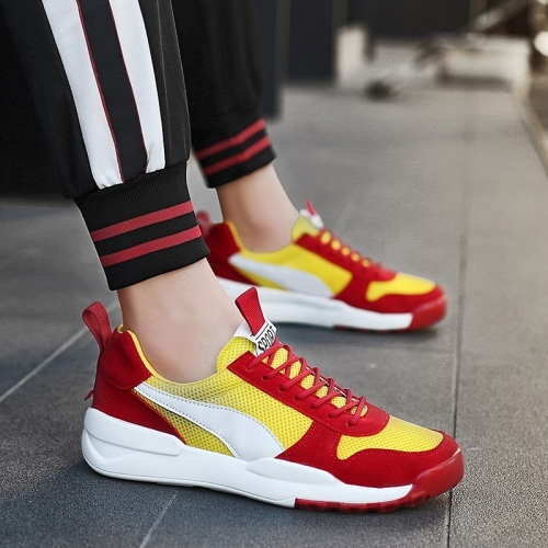 Lightweight and Comfortable Mesh Outdoor Sport Casual Shoes for Men (Color:Gold Red Size:42)