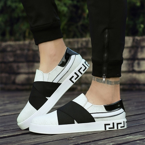 Outdoor Low-cut Shock Absorbing Fashion Sport Casual Shoes for Men (Color:White Black Size:42)