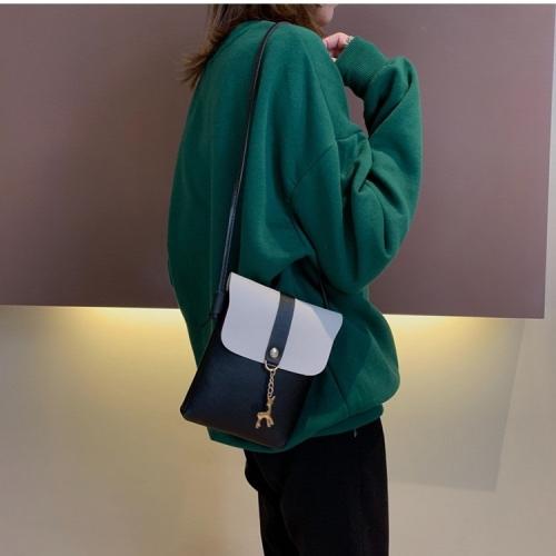 Mini PU Leather Shoulder Bag Ladies Handbag Phone Case (Black)