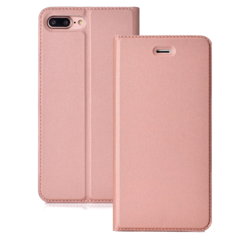 Ultra-thin Pressed Magnetic TPU+PU Leather Case for iPhone 8 Plus &7 Plus, with Card Slot & Holder (Rose Gold)