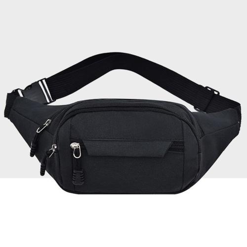 Pure Color Multi-function Pockets Waterproof Chest Bag Waist Crossbody Sports Bag (Black)