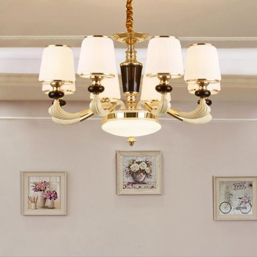 Atmosphere Zinc Alloy Garden Bedroom Simple Villa Duplex Restaurant Living Room Lamps, 8 Heads