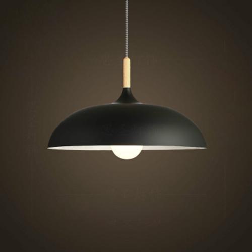 40W 45cm Minimalist Creative Personality Semi-circular Lid Chandelier Wrought Iron Single-head Restaurant Living Room Hotel Lamps (Black)
