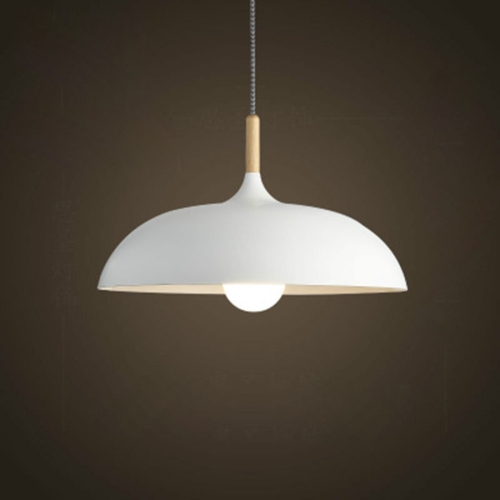40W 45cm Minimalist Creative Personality Semi-circular Lid Chandelier Wrought Iron Single-head Restaurant Living Room Hotel Lamps (White)