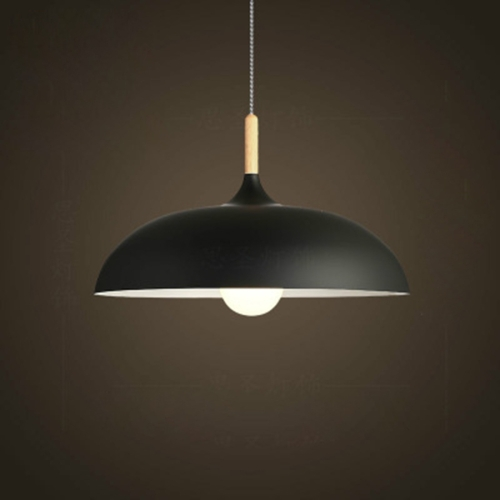 40W 40cm Minimalist Creative Personality Semi-circular Lid Chandelier Wrought Iron Single-head Restaurant Living Room Hotel Lamps (Black)