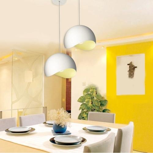 Modern Minimalist Restaurant Chandelier Designer's Lamp Creative Personality Bar Coffee Shop Hotel Lamp Nordic Style Lamp 20CM White Inner Yellow