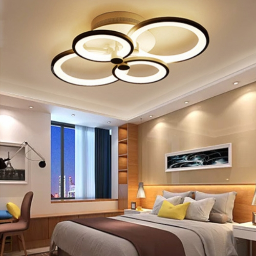 28W Creative Round Modern Art LED Ceiling Lamp, Stepless Dimming + Remote Control, 4 Heads
