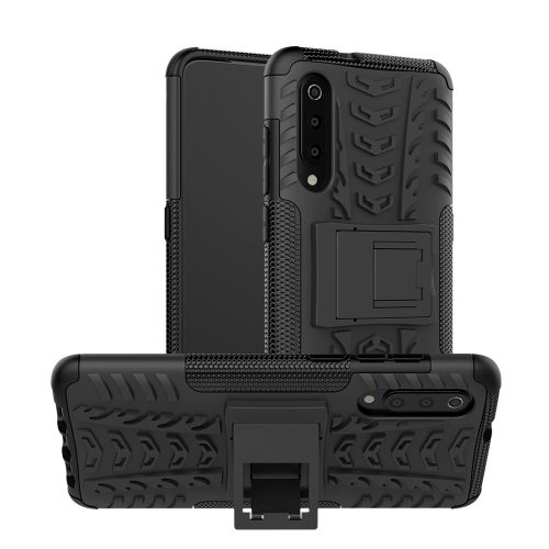 Tire Texture TPU+PC Shockproof Phone Case for Xiaomi Mi 9, with Holder (Black)