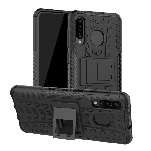 Tire Texture TPU+PC Shockproof Phone Case for Galaxy A50 / A20 / A30, with Holder (Black)