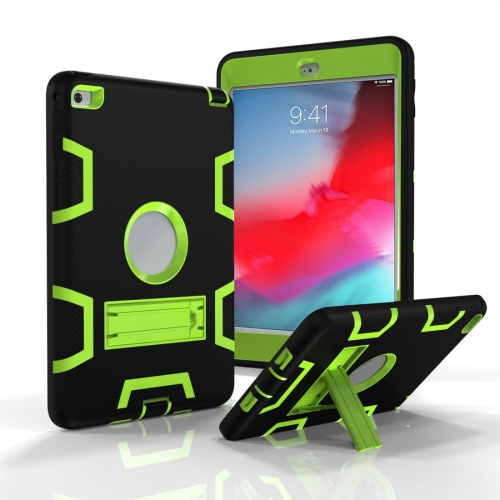 Contrast Color Silicone + PC Shockproof Case for iPad mini 5 / mini 4, with Holder(Black+green)
