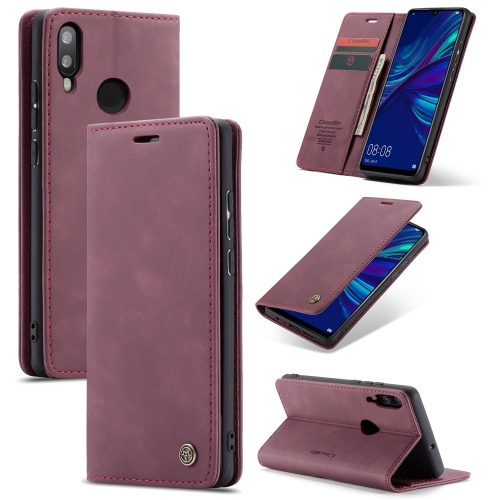 CaseMe Multifunctional Retro Frosted Horizontal Flip Leather Case for Huawei P Smart 2019, with Card Slots & Holder & Wallet (Wine Red)