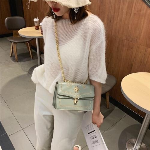 Bee Embroidery PU Leather Chain Single Shoulder Bag Ladies Handbag Messenger Bag (Gray)