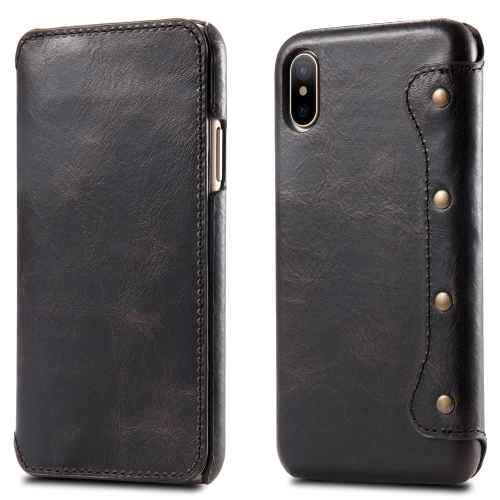 Oil Wax Top-grain Cowhide Horizontal Flip Leather Case for iPhone X / XS, with Card Slots & Wallet (Black)
