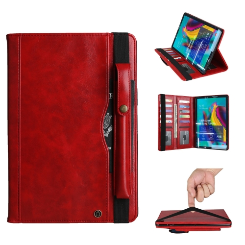 Crazy Horse Texture Horizontal Flip Leather Case for Galaxy Tab A (2019) 10.1 / T510 / 515, with Double-row Card Slots & Photo Frame & Pen Slot (Red)