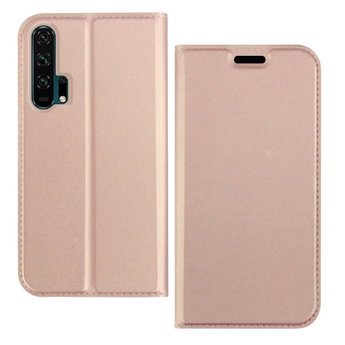 DZGOGO ISKIN Series Slight Frosted PU+ TPU Case for for Huawei Honor 20 Pro, with Holder & Card Slot & Wallet (Rose Gold)
