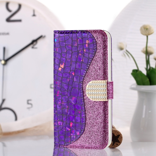 Laser Glitter Powder Matching Crocodile Texture Horizontal Flip Leather Case for Huawei P Smart 2019, with Card Slots & Holder (Purple) фото