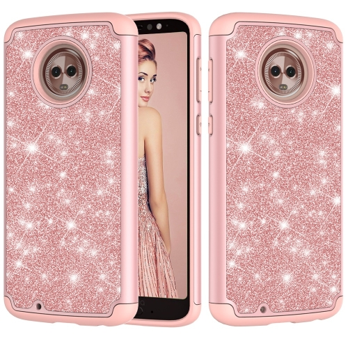 Glitter Powder Contrast Skin Shockproof Silicone + PC Protective Case for Motorola Moto G6 (Rose Gold)