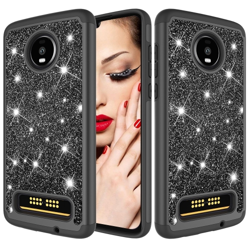 Glitter Powder Contrast Skin Shockproof Silicone + PC Protective Case for Motorola Moto Z4 Play (Black)