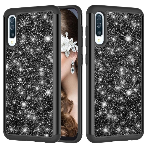 Glitter Powder Contrast Skin Shockproof Silicone + PC Protective Case for Galaxy A50 (Black)