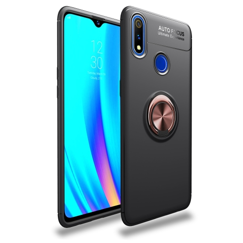 Shockproof TPU Case for  Realme 3 Pro, with Invisible Holder (Black Gold)