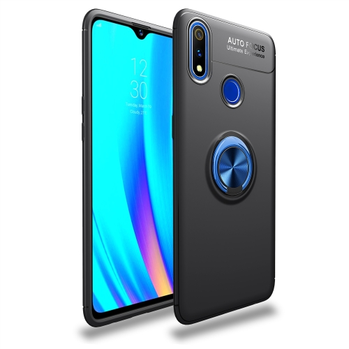Shockproof TPU Case for  Realme 3 Pro, with Invisible Holder (Black Blue)