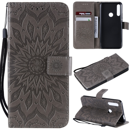 Pressed Printing Sunflower Pattern Horizontal Flip PU Leather Case for Huawei P Smart Z / Y9 Prime (2019), with Holder & Card Slots & Wallet & Lanyard (Grey)