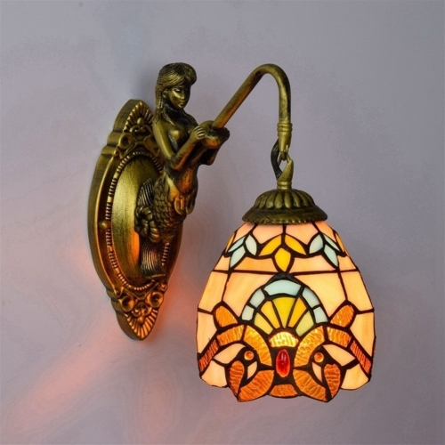 YWXLight Balcony Retro Stained Glass Living Room Dining Room Bedroom Bar Clubhouse Aisle Baroque Wall Lamp (US Plug)