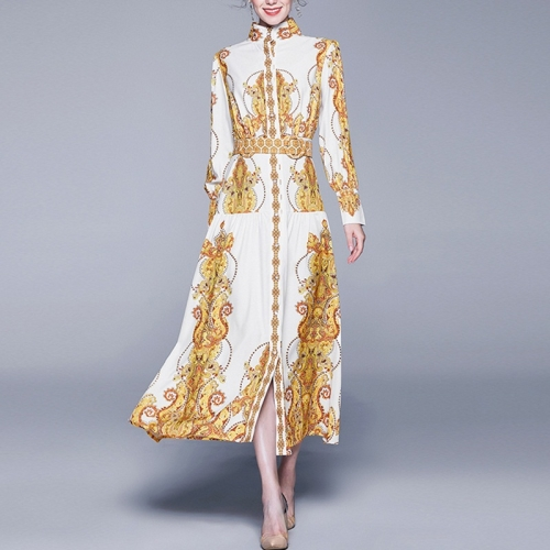 Retro Loose Big Swing Printing Long-sleeved Dress (Color:Yellow Size:M)