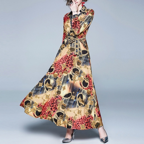 Printed Long-sleeved V-neck Slim Thin Long-sleeved Big Swing Dress (Color:Yellow Size:M)