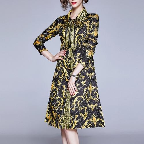 Lapel Waist Retro Print Long-sleeved Lace Dress (Color:Yellow Size:M)
