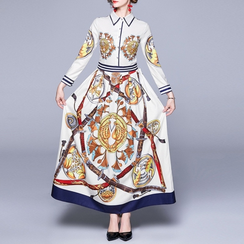 Fashion Printed Long-sleeved Slim Dress (Color:White Yellow Size:M)