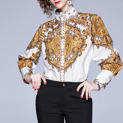 Floral High-necked Long-sleeved Shirt (Color:Yellow Size:M)