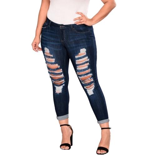 Sunsky Pantalones De Mezclilla De Gran Elasticidad Destrozados Color Azul Oscuro Talla Xxxxxxxl