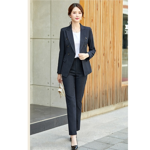 Fashion Casual Suit, Style: Coat + Pants (Color:Black Size:XXL)