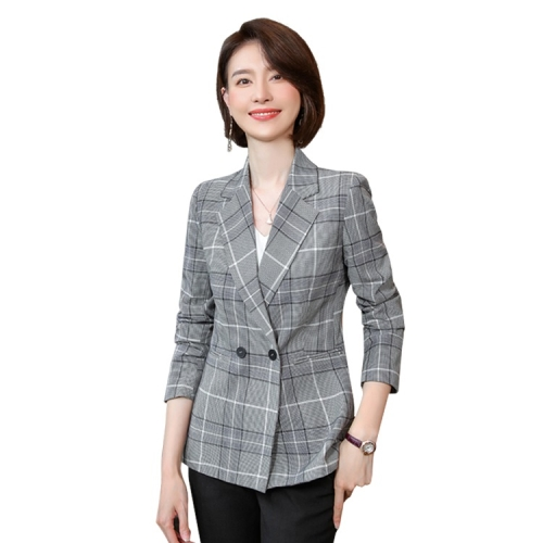Casual Fashion Plaid Texture Suit (Color:Gray Size:XXL)