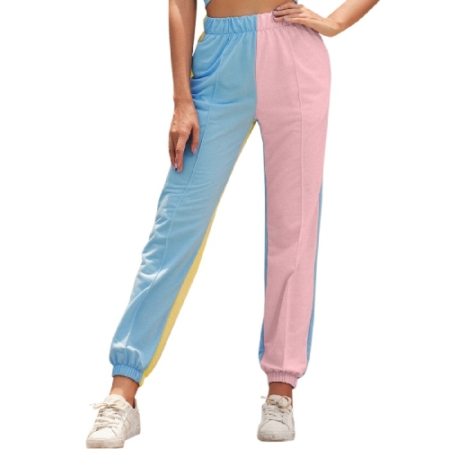 Women High Waist Color Matching Casual Straight Sports Trousers (Color:As Show Size:S)  - buy with discount