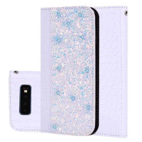 Crocodile Texture Glitter Powder Horizontal Flip Leather Case For Galaxy S10