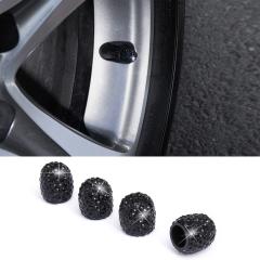 SUNSKY - Car Crystal Tire Valve Cap Gas Cap Mouthpiece Cover (Black)